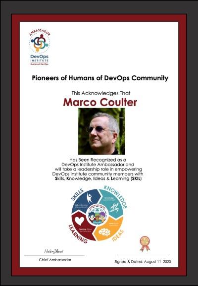 DevOps Institute Ambassador Certificate for Marco Coulter